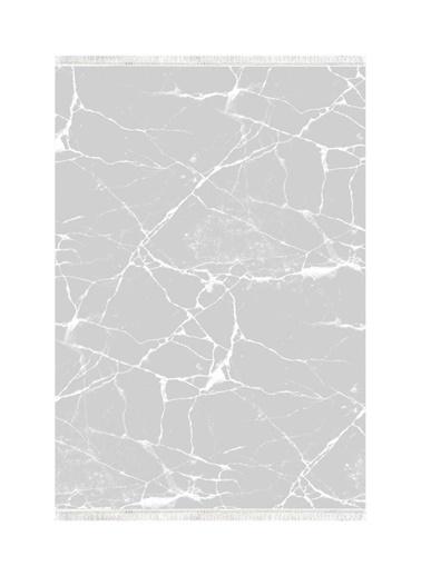 Belemir Belemir K412 Mermer Gri Beyaz Dekoratif Yıkanabilir Halı Renkli